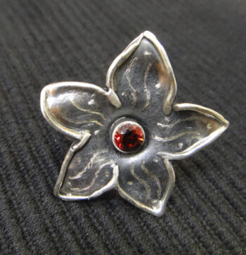 red cubic zirconia sterling silver flower ring