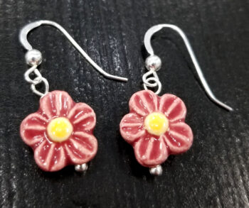 red and yellow ceramic daisy earrings