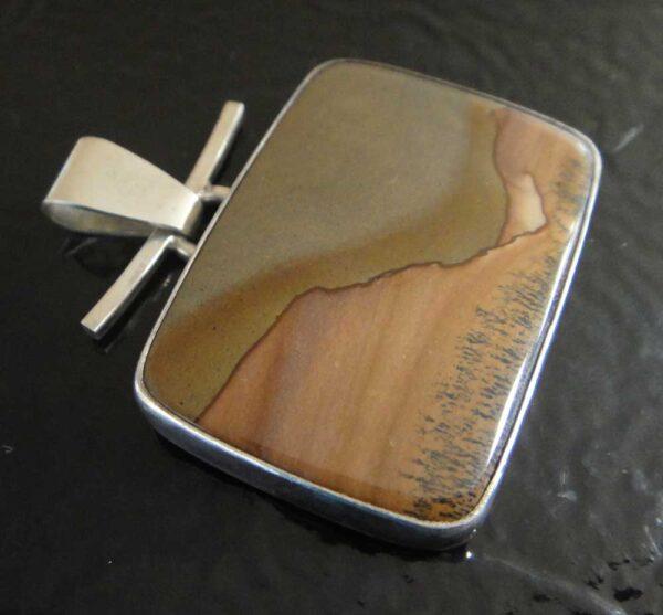 handmade Red Desert jasper and sterling silver pendant by Dale Repp
