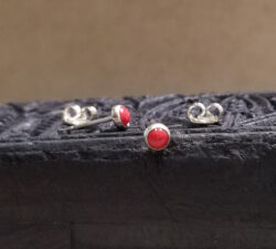 bright red sterling silver stud earrings