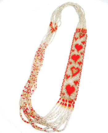 red heart long necklace