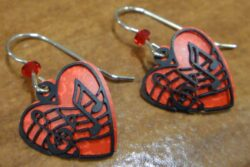 music notes and red heart Sienna Sky earrings