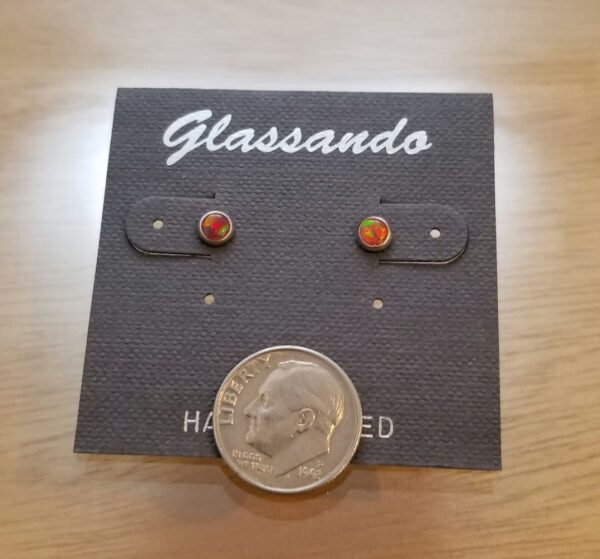 red opal post earrings with dime for scale