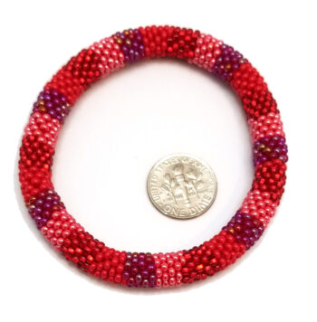 roll-on woven seed bead bracelet with dime to help you gauge scale