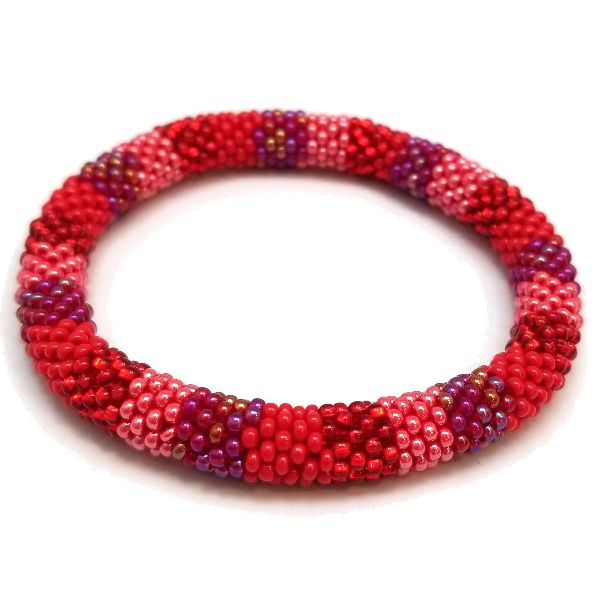 red, purple, pink woven Czech glass roll-on bracelet