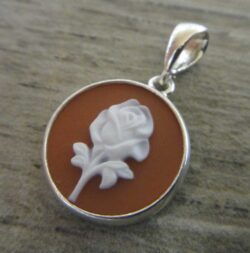 Red rose agate cameo sterling silver pendant