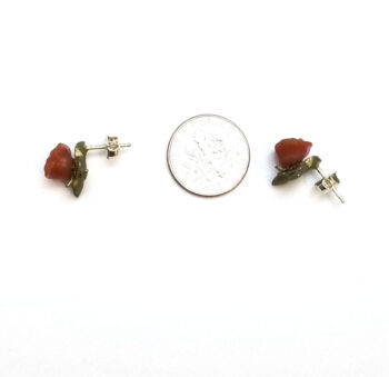 red rose post earrings with dime for scale