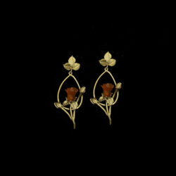 red rose long post oval earrings