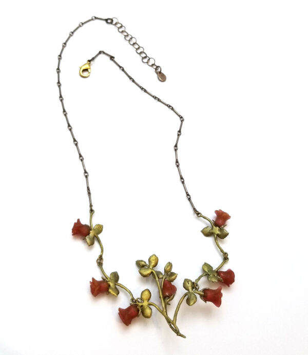 back of red rose statement necklace by Michael Michaud