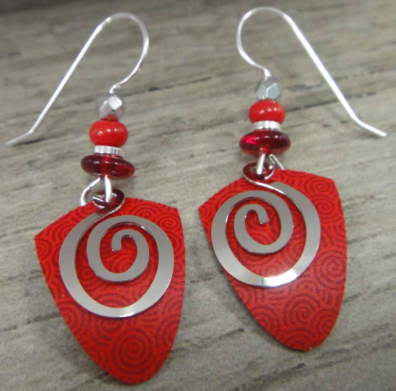 red and silvertone swirl Adajio earrings