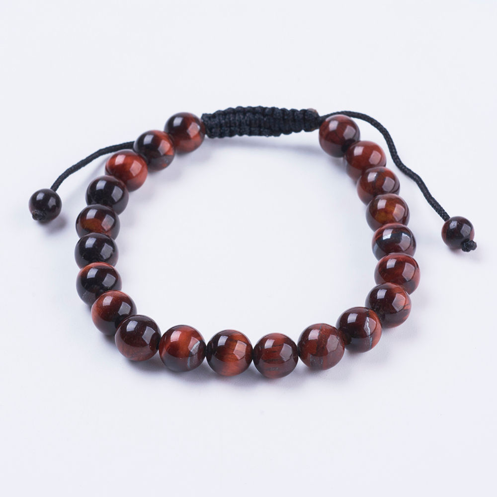 red cherry tiger's eye gemstone bracelet with adjustable knot closure, fits both men and women