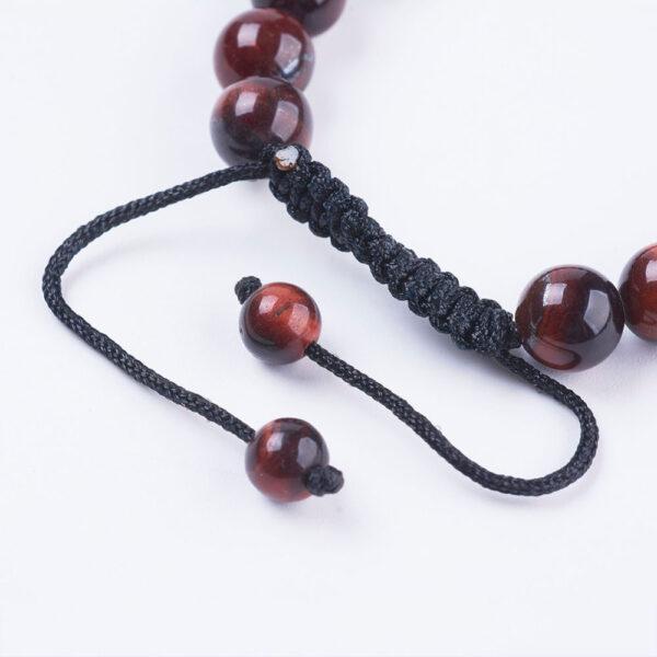 adjustable knot closure on this cherry tiger's eye bracelet