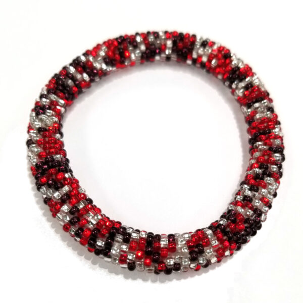 red, white, and dark purple (almost black) roll-on Czech glass seed bead bracelet