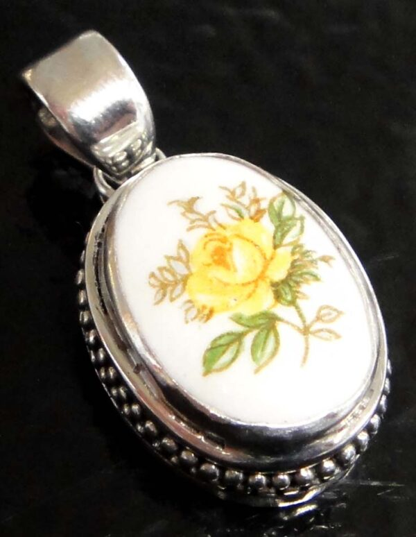 repurposed button sterling silver pendant