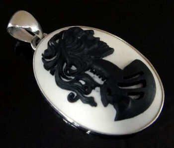 handmade resin skeleton cameo and sterling silver pendant