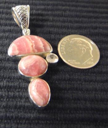 Rhodocrosite and rose quartz sterling silver pendant