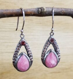rhodochrosite, garnet, sterling silver earrings