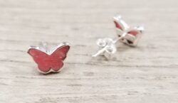 handmade pink rhodonite + sterling silver butterfly stud earrings