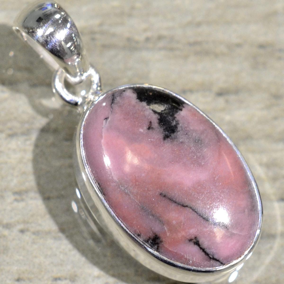 pink rhodonite oval drop pendant