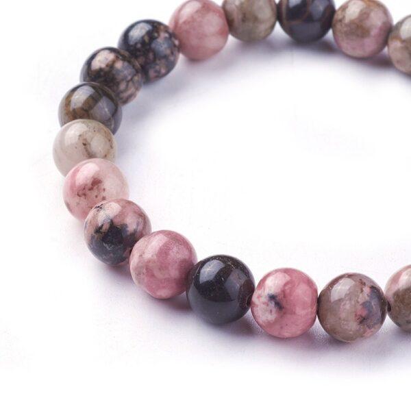 close up of rhodonite stretch bracelet