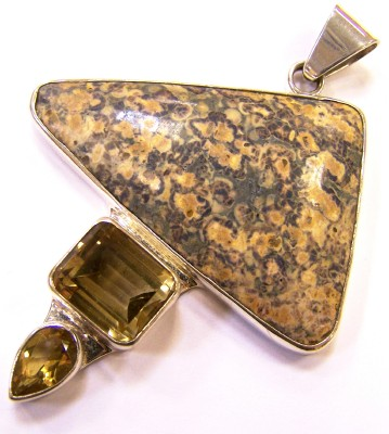 Handmade rhyolite, citrine, and sterling silver pendant