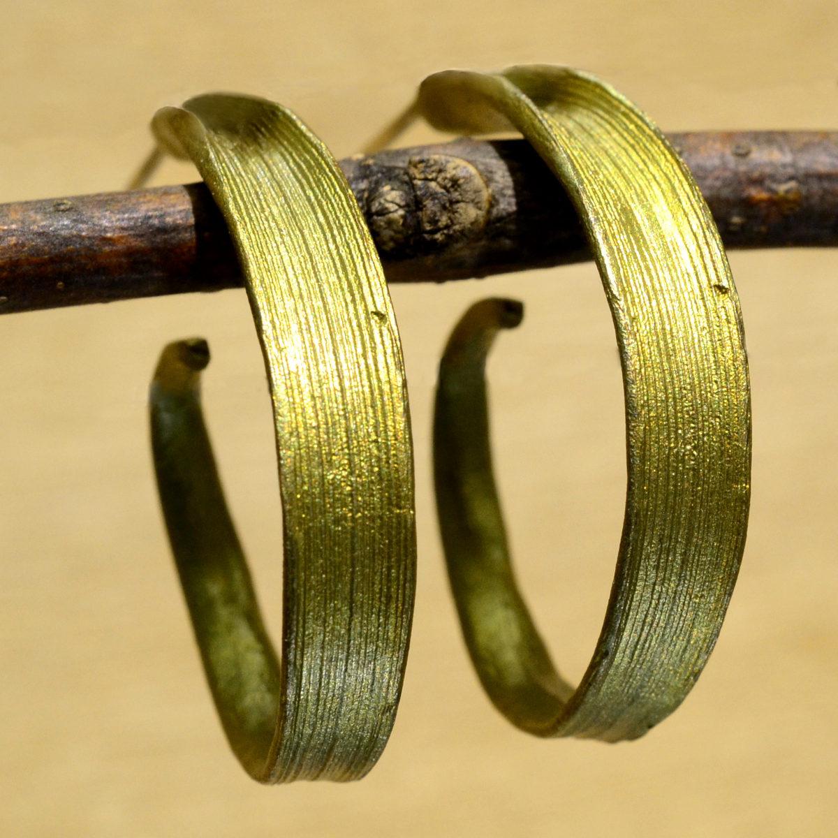 handmade Michael Michaud Rice leaf hoop earrings