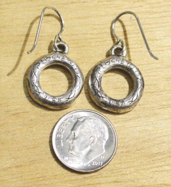 Handmade Patricia Locke Ringlet all crystal earrings back w/ dime