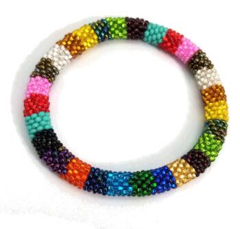 Striped multi-color seed bead bracelet