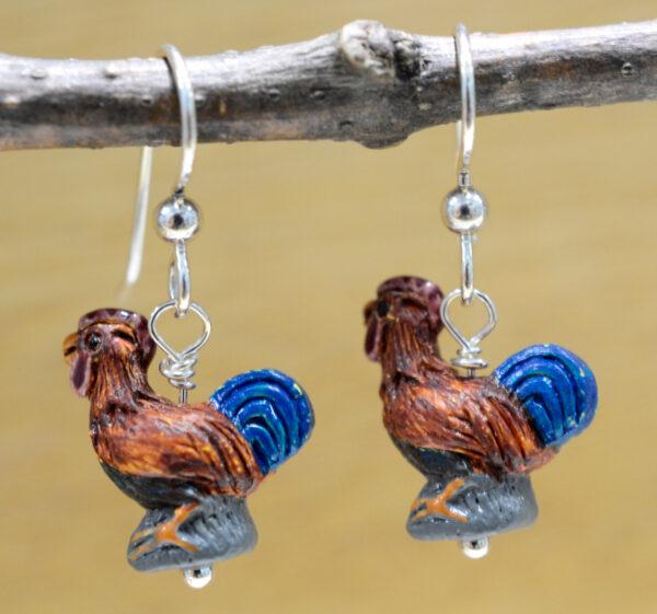 Ceramic rooster earrings