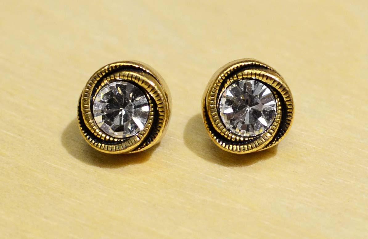 "Rosebud gold tone earrings in color palette ""All Crystal"" by Patricia Locke"