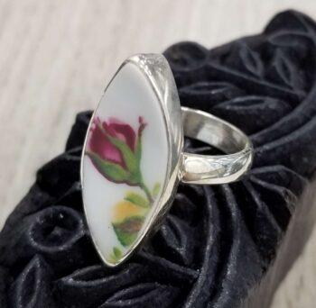 repurposed ceramic rose bud and sterling silver ring