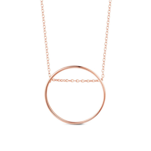 rose gold-plated sterling silver modern circle necklace