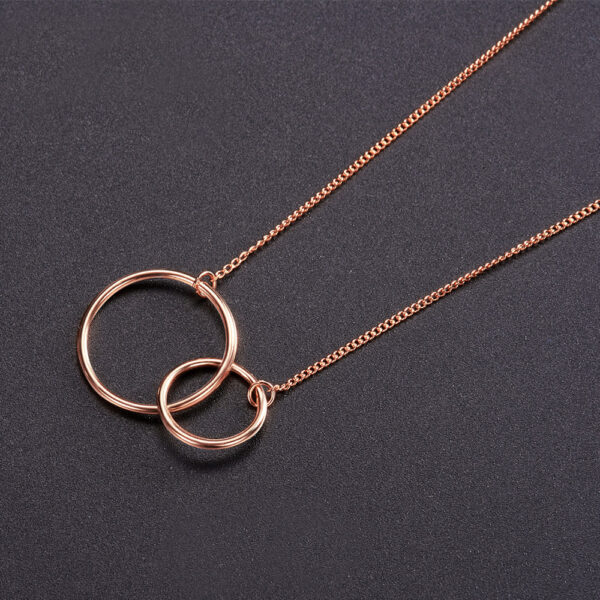 interlocking circles rose gold plated sterling silver necklace