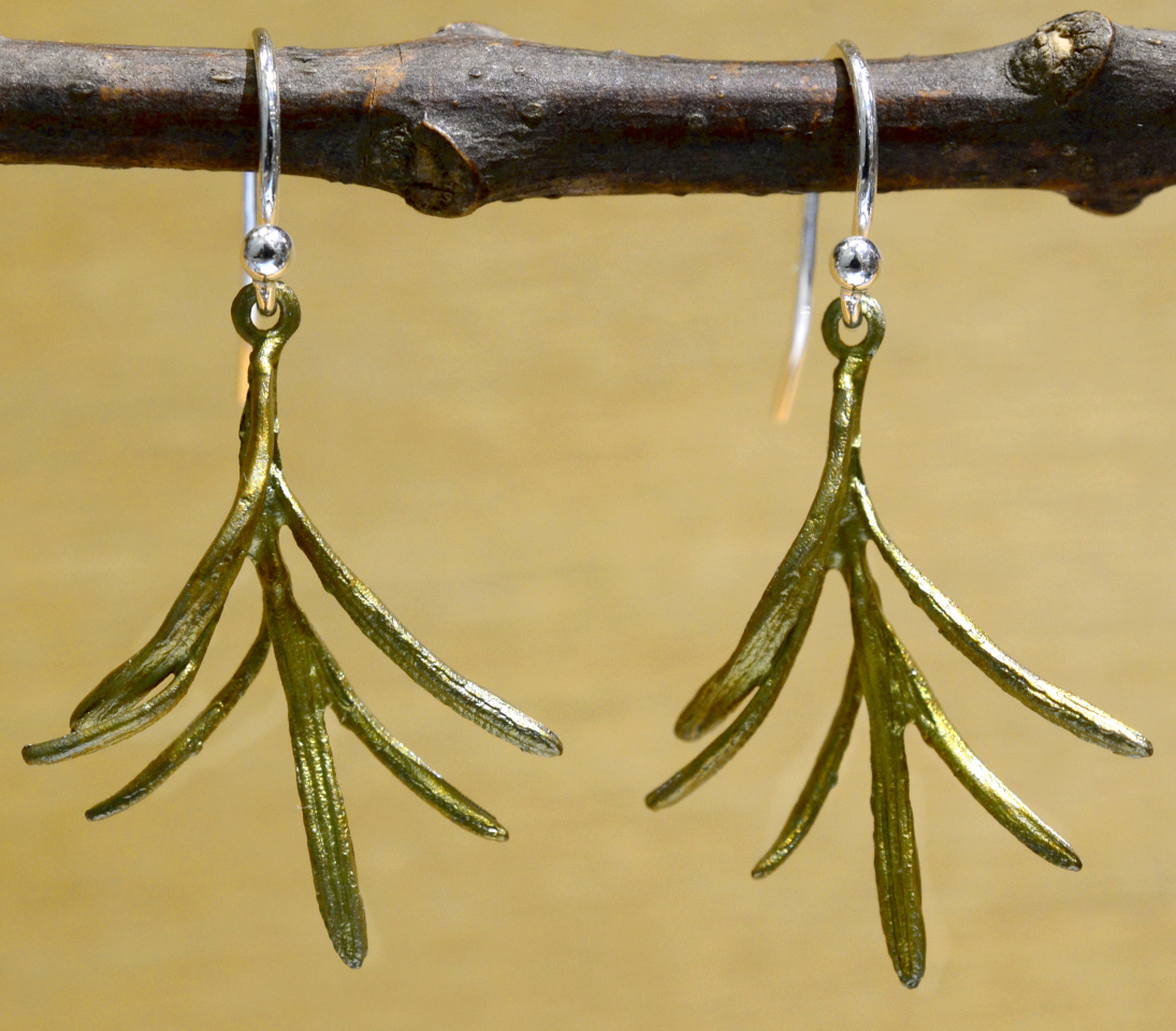 Michael Michaud Silver Seasons petite herb rosemary dangle earrings