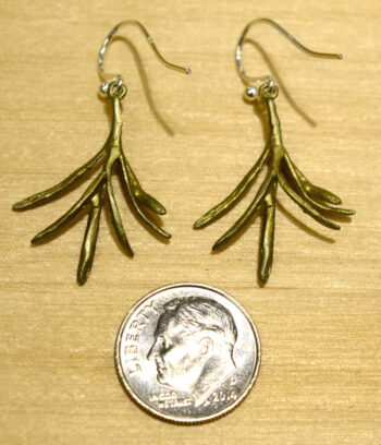 Back of Michael Michaud rosemary herb dangle earrings, shown with dime (not included) for scale