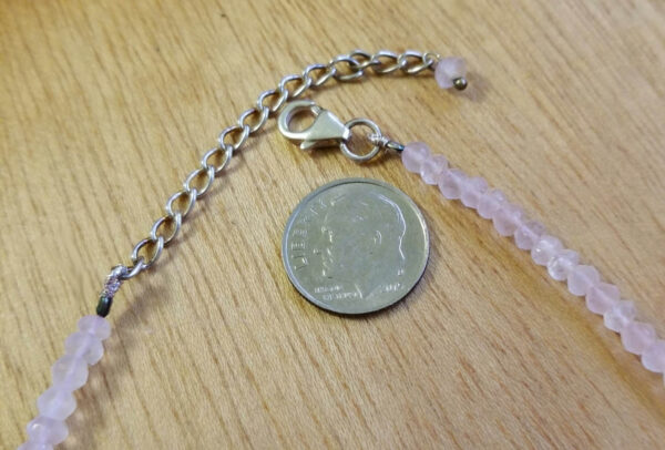 rose quartz necklace clasp with dime for scale