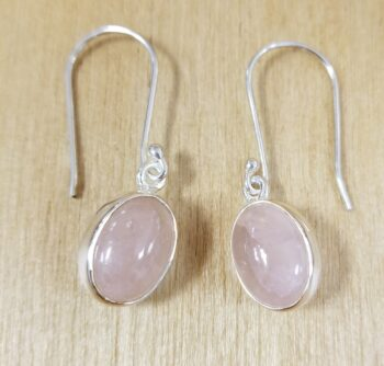 rose quartz and sterling silver oval earrings