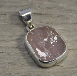 Rough rose quartz and sterling silver pendant