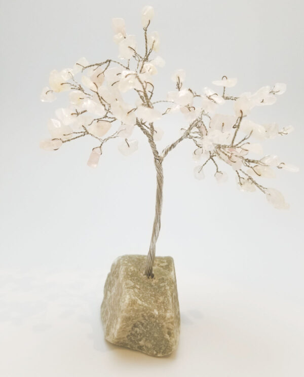 rose quartz crystal tree sculpture