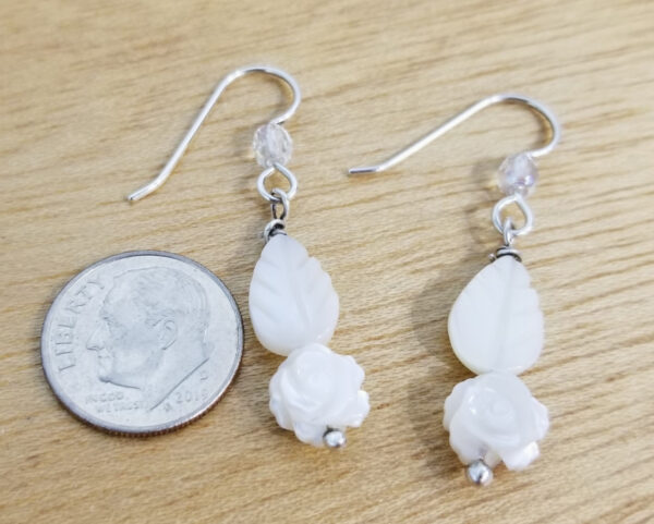rose and leaf earrings with dime for scale