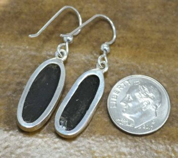 Rough black tourmaline sterling silver dangle earrings