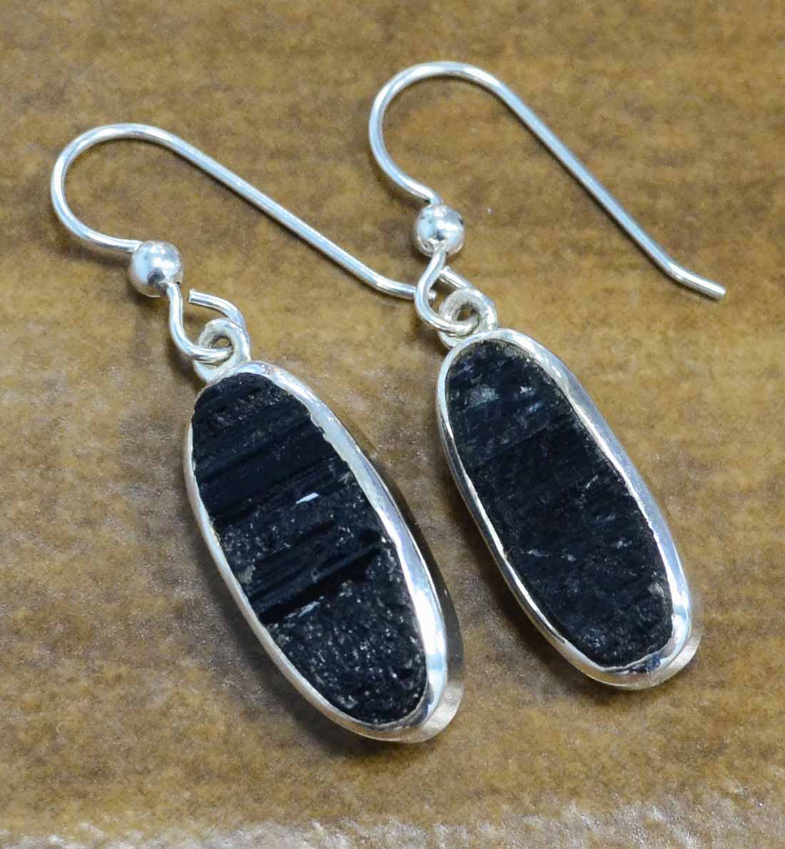 Rough black tourmaline and sterling silver earrings