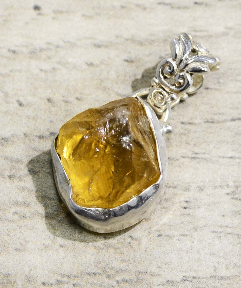handmade rough citrine and sterling silver pendant