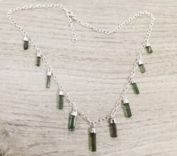 handmade rough green tourmaline and sterling silver necklace