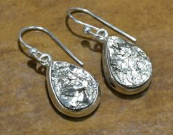 handmade rough pyrite and sterling silver drop earrings
