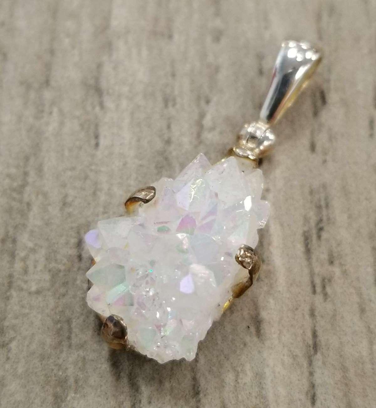 rough quartz crystal druzy sterling silver pendant