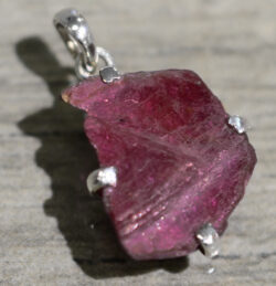 handmade dark pink rough ruby slice pendant