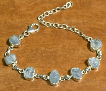 handmade rough aquamarine and sterling silver bracelet