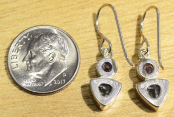 Back of sterling silver amethyst and blue topaz dangles handmade by Sonoma Art Works pictured with dime for scale