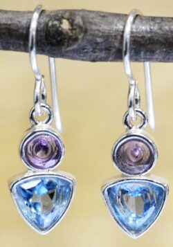 These amethyst and blue topaz dangle earrings are handmade by Sonoma Art Works.